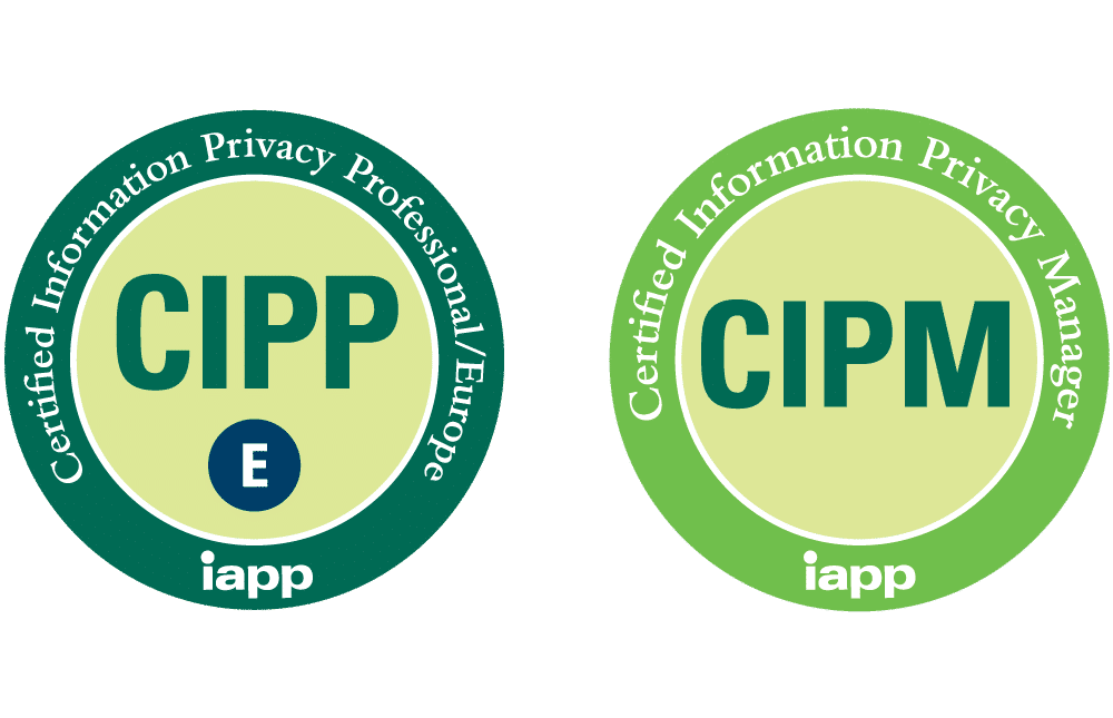 Certification Logos for CIPP/E and CIPM